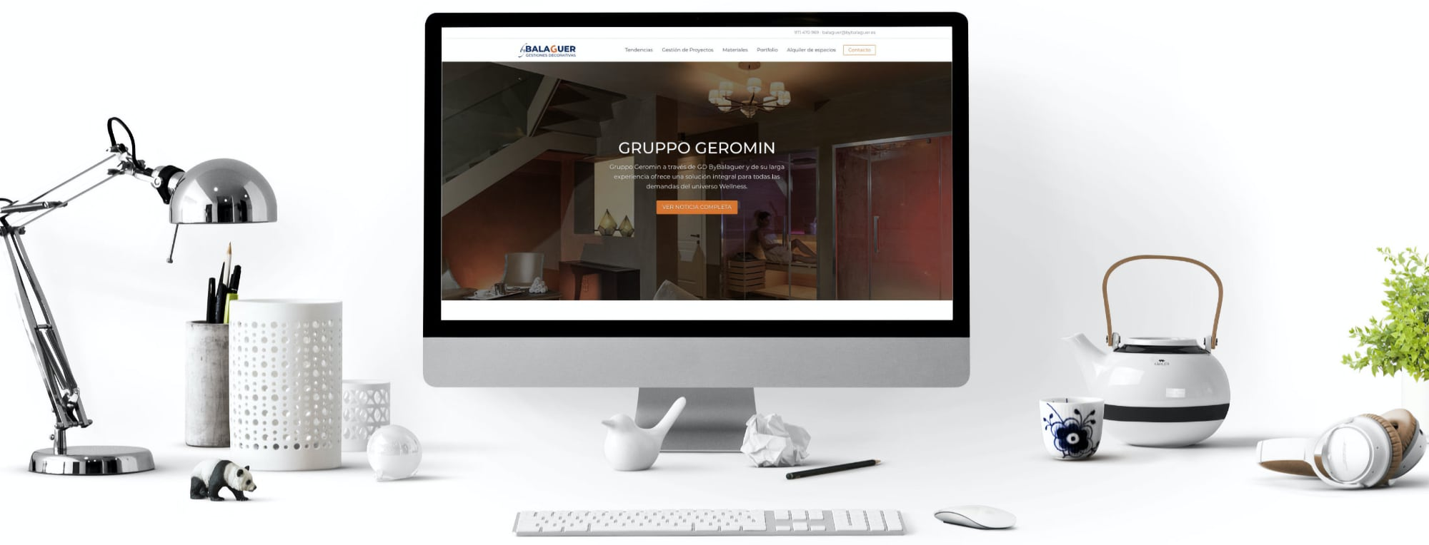 Desarrollo web LaceBot. Imagen de una web creada por Lacebot mostrada en pantalla.