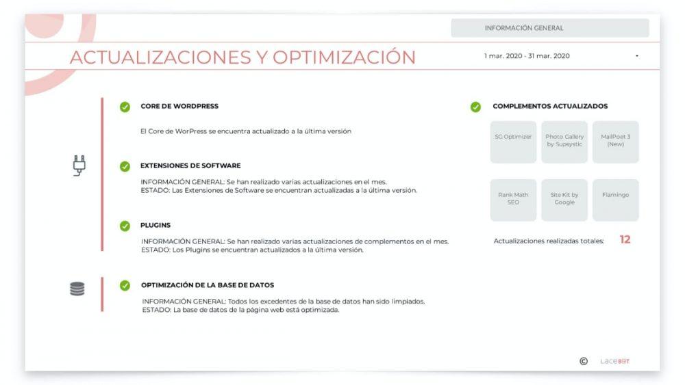 Informe data studio: Actualizaciones y optimización
