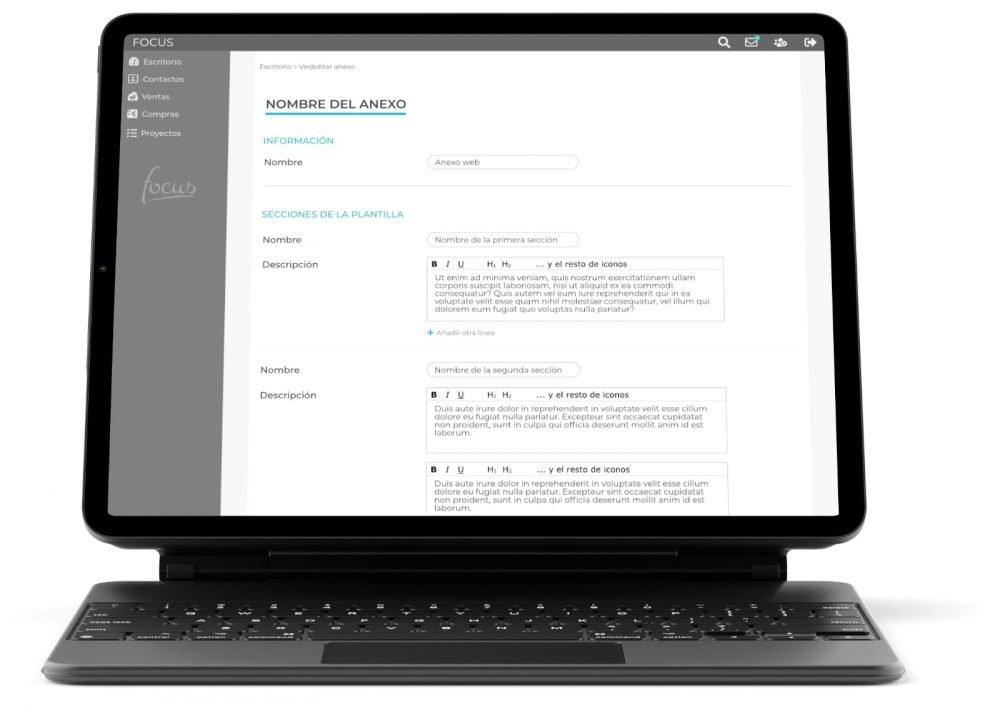 Anexo presupuestos Focus app. Imagen creada por Lacebot para Desarrollo web en Mallorca