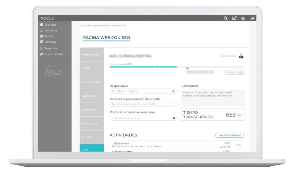 CRM Focus app. Elaborada por Lacebot para Desarrollo web en Mallorca