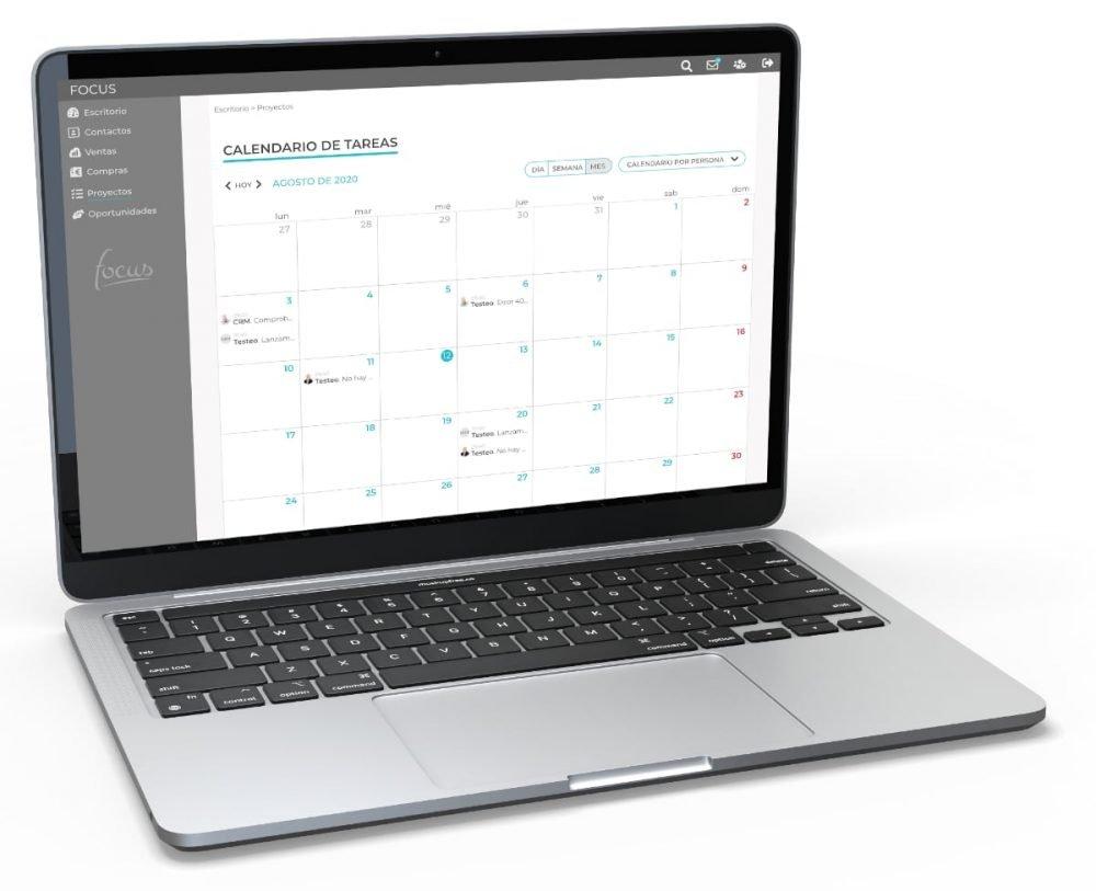 Calendario de tareas en Focus app. Elaborado por Lacebot para Desarrollo web en Mallorca