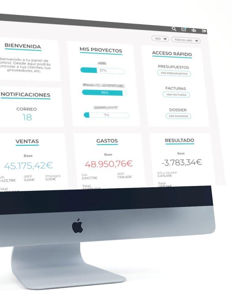 Home Focus app. Facturas, compras y ventas. Elaborado por Lacebot para Desarrollo web en Mallorca