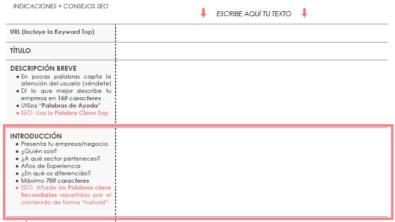 Redactor de contenidos web. Introducción. Plantilla elaborada por Lacebot para Marketing digital en Mallorca