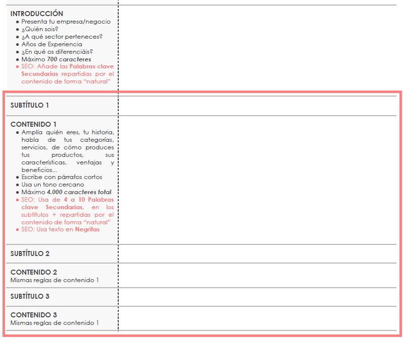Redactor de contenidos web. Subtítulos y contenido web. Plantilla elaborada por Lacebot para Marketing digital en Mallorca